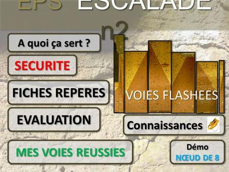 EPS ESCALADE n2 SECURITE FICHES REPERES VOIES FLASHEES EVALUATION