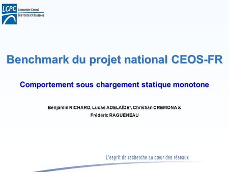 Benchmark du projet national CEOS-FR