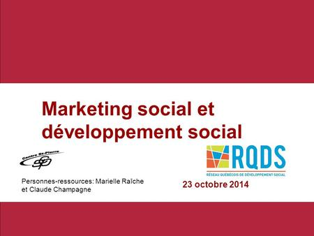 Marketing social et développement social