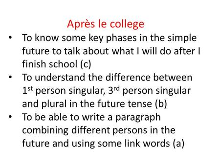 Après le college To know some key phases in the simple future to talk about what I will do after I finish school (c) To understand the difference between.