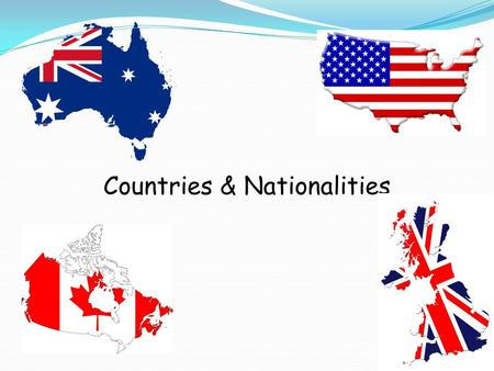 Countries & Nationalities. The United States of America (The USA) White stars Red and white stripes.