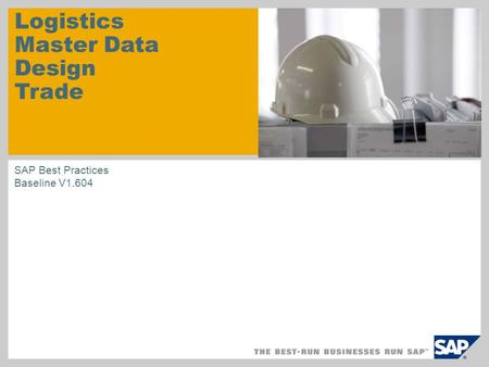 Logistics Master Data Design Trade SAP Best Practices Baseline V1.604.