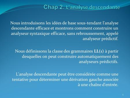 Chap 2. L'analyse descendante