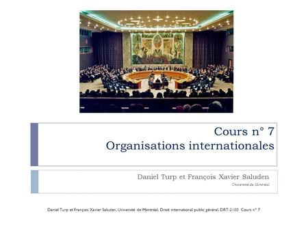 Cours n° 7 Organisations internationales