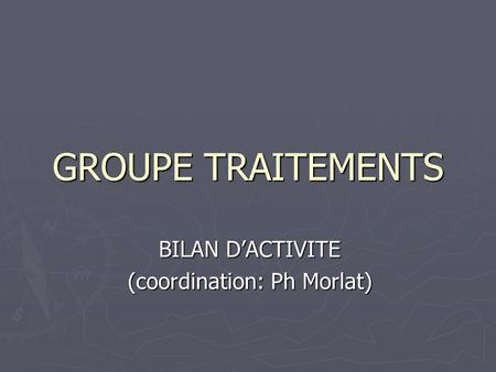 GROUPE TRAITEMENTS BILAN D'ACTIVITE (coordination: Ph Morlat)