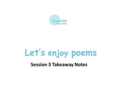 Let's enjoy poems Session 3 Takeaway Notes. Let's enjoy poems – Session 3 Clothes un T-shirt un pull un short un bermuda un polo une chemise une casquette.