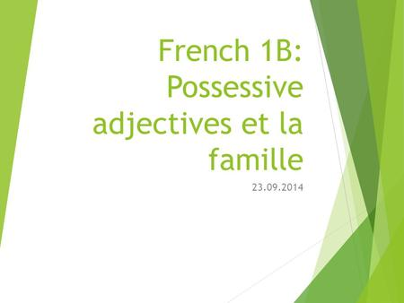 French 1B: Possessive adjectives et la famille 23.09.2014.