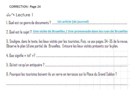 CORRECTION : Page 24 Un article (de journal)