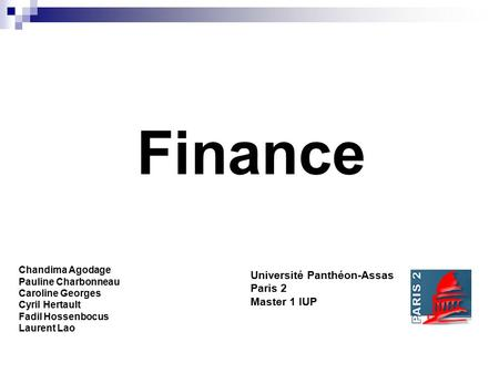 Finance Université Panthéon-Assas Paris 2 Master 1 IUP