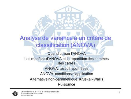 Analyse de variance à un critère de classification (ANOVA)
