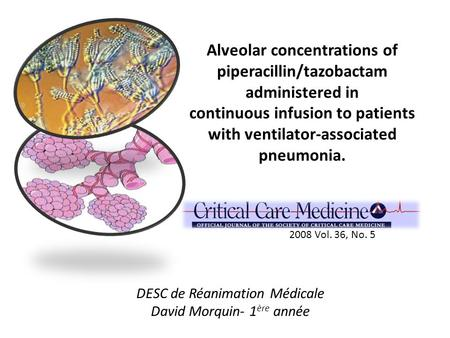 Alveolar concentrations of piperacillin/tazobactam administered in continuous infusion to patients with ventilator-associated pneumonia. 2008 Vol. 36,