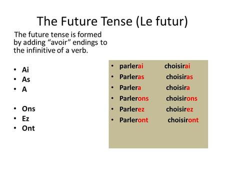"The Future Tense (Le futur) The future tense is formed by adding ""avoir"" endings to the infinitive of a verb. Ai As A Ons Ez Ont parlerai choisirai Parleras."