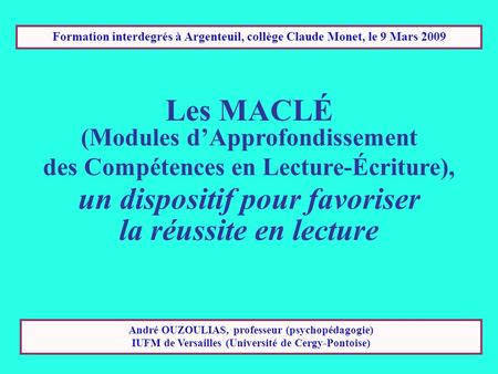 Les MACLÉ (Modules d'Approfondissement un dispositif pour favoriser
