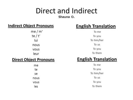 Direct and Indirect Shauna O.