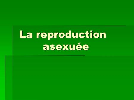 La reproduction asexuée La reproduction asexuée. Reproduction asexuée  La reproduction asexuée :est un seul organisme engendre d'autres organismes dont.