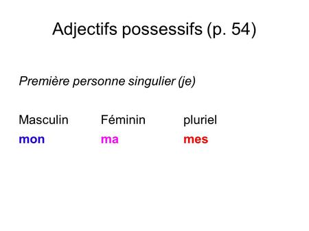 Adjectifs possessifs (p. 54)