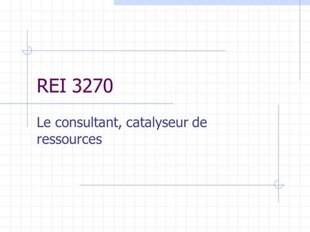 REI 3270 Le consultant, catalyseur de ressources.