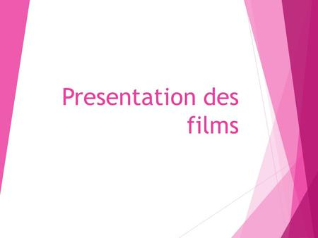 Presentation des films. Present the trailer (in French w/English subtitles) and answer these questions:  C'est quel genre de film? Horreur, science-fiction,