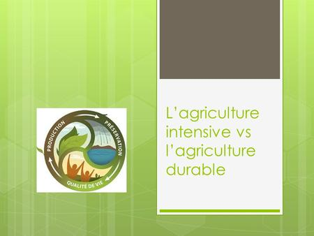 L'agriculture intensive vs l'agriculture durable.
