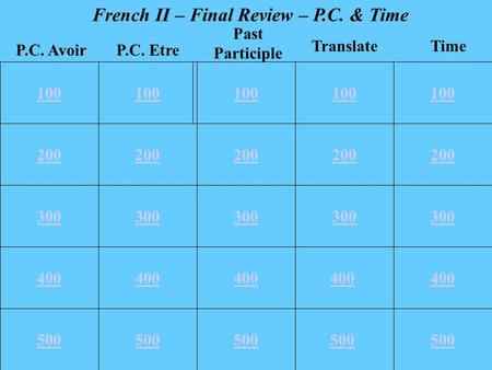 100 200 300 400 500 100 200 300 400 500 100 TranslateTime P.C. EtreP.C. Avoir Past Participle French II – Final Review – P.C. & Time 400 500.