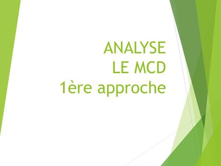 ANALYSE LE MCD 1ère approche