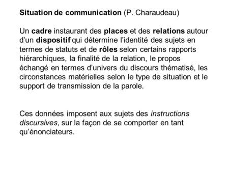 Situation de communication (P