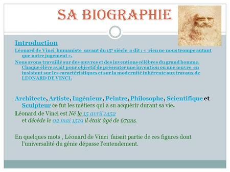 Sa biographie Introduction