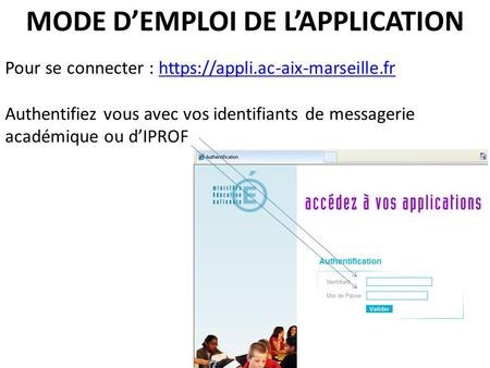MODE D'EMPLOI DE L'APPLICATION