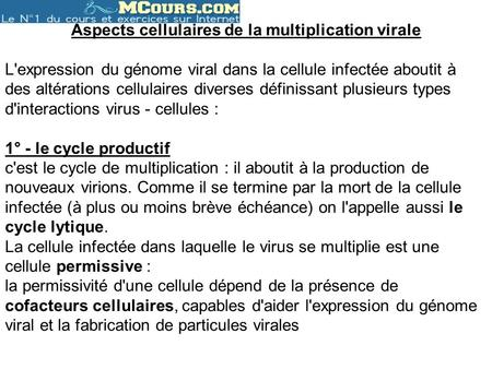 Aspects cellulaires de la multiplication virale