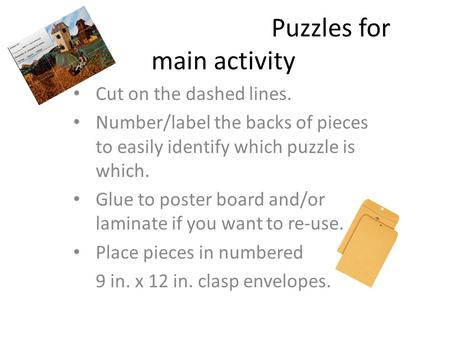 Puzzles for main activity Cut on the dashed lines. Number/label the backs of pieces to easily identify which puzzle is which. Glue to poster board and/or.