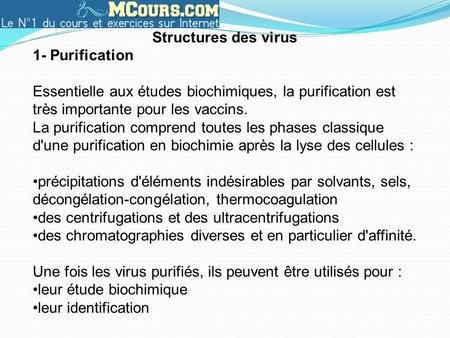 Structures des virus 1- Purification