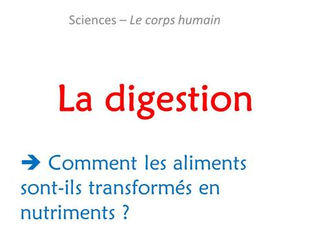 Sciences – Le corps humain