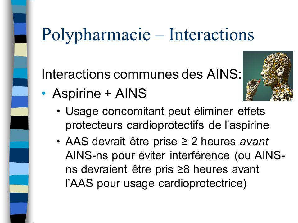 Polypharmacie – Interactions Diminue leffet antihypertenseur des: β-bloqueurs, ARAs, diurétiques, bloqueurs α T.A.