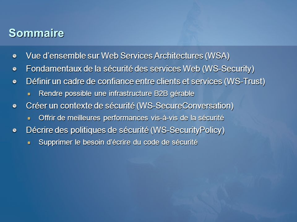 WS-* Web Service Architecture (WSA) STAR pour Secure, Transactional, Asynchronous, Reliable « An Introduction to the Web Services Architecture and Its Specifications » http://msdn.microsoft.com/library/en-us/dnwebsrv/html/introwsa.asp HTTP, HTTPS, SMTP, etc.