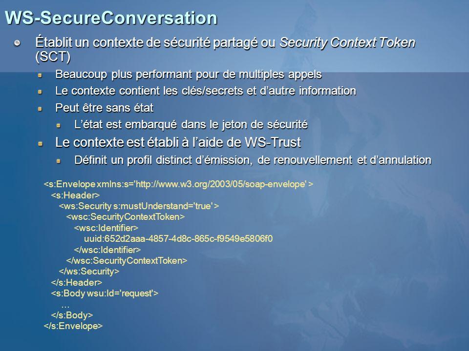 Créer des conversations sécurisées Dans WSE, ce jeton « léger » prend la place dun jeton exigeant un traitement plus intensif Microsoft.Web.Services2.Security Le STS peut être localisé au niveau du service ou être un point de terminaison distinct Les services peuvent émettre leurs propres SCTs Plus besoin de déployer un émetteur de SCTs Élément de configuration à activer Demande dun SCT ClientClient Service Web et STS SCT émis vers le client SCT Séries de messages signés avec le SCT émis SCT