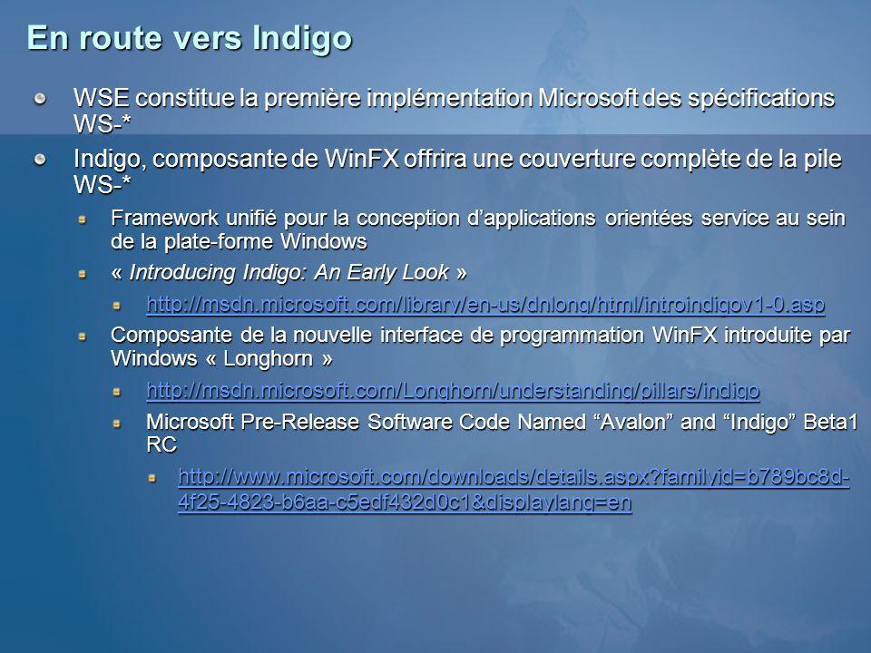 Résumé de la session WSE offre dès aujourdhui de nombreux services de sécurité avancés avec un haut niveau dabstraction Authentification Jetons de sécurité : Microsoft.Web.Services2.Security.SecurityToken Couple utilisateur/mot de passe : UsernameToken Jetons binaires : BinarySecurityToken Certificat X509 : X509SecurityToken Jeton Kerberos : KerberosToken, KerberosToken2 SAML : Microsoft.Web.Services2.Security.SAML Signature des messages XML Signature : Microsoft.Web.Services2.Security.MessageSignature Chiffrement des messages XML Encryption : Microsoft.Web.Services2.Security.Cryptography Gestion et définition de relation de confiance entre entités WS-Trust : Microsoft.Web.Services2.Security Contexte de sécurité entre deux services pour des échanges de plusieurs messages dans ce même contexte WS-SecureConversation : Microsoft.Web.Services2.Security