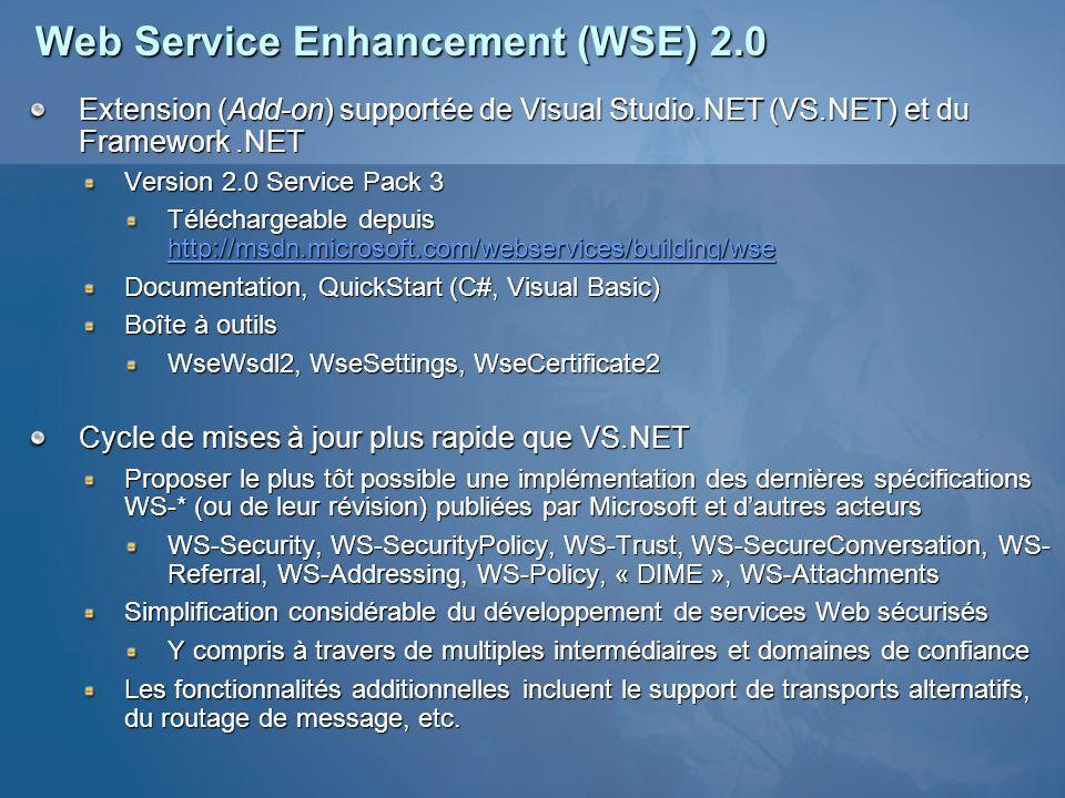 Architecture WSE 2.0 Ensemble de classes implémentant les nouveaux standards WS-* Manipulation des en-têtes SOAP Notion de pipeline et filtres hébergés par ASP.NET Écriture (Injection) den-têtes SOAP dans le messages sortants Transformation du corps SOAP du message (chiffrement/déchiffrement) Lecture des en-têtes SOAP des messages entrants Possibilité dinsérer ses propres filtres dans le pipeline « Inside the Web Services Enhancements Pipeline » http://msdn.microsoft.com/library/en-us/dnwse/html/insidewsepipe.asp Expéditeur de messages SOAP Filtres de sortie Filtres dentrée Service Web Filtres dentrée Filtres de sortie