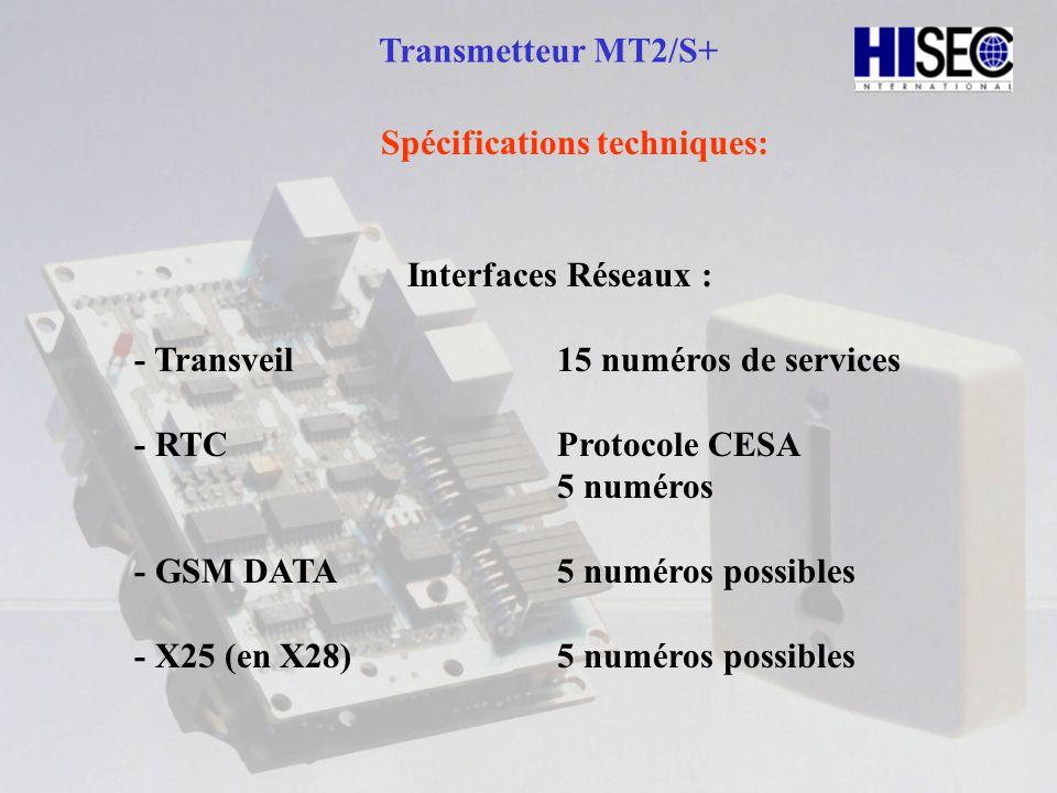 Transmetteur MT2/S+ Spécifications techniques : Interfaces Locales: - 16 boucles en entrées tout ou rien.