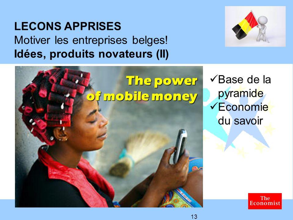 LECONS APPRISES Motiver les entreprises belges!