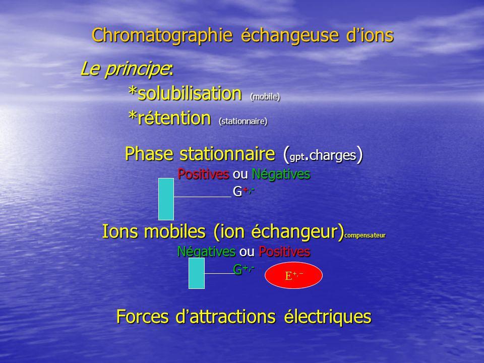 CHROMATOGRAPHIE É CHANGEUSE D IONS La phase stationnaire porte des groupements fonctionnels ionis é s qui sont de charge : La phase stationnaire porte des groupements fonctionnels ionis é s qui sont de charge : positive ou n é gative positive ou n é gative sur lesquelles des ions mobiles (ion é changeur ) de charges oppos é es sont li é es par des forces d attractions é lectriques : sur lesquelles des ions mobiles (ion é changeur ) de charges oppos é es sont li é es par des forces d attractions é lectriques : On parle de chromatographie é changeuse de cations ou d anions.