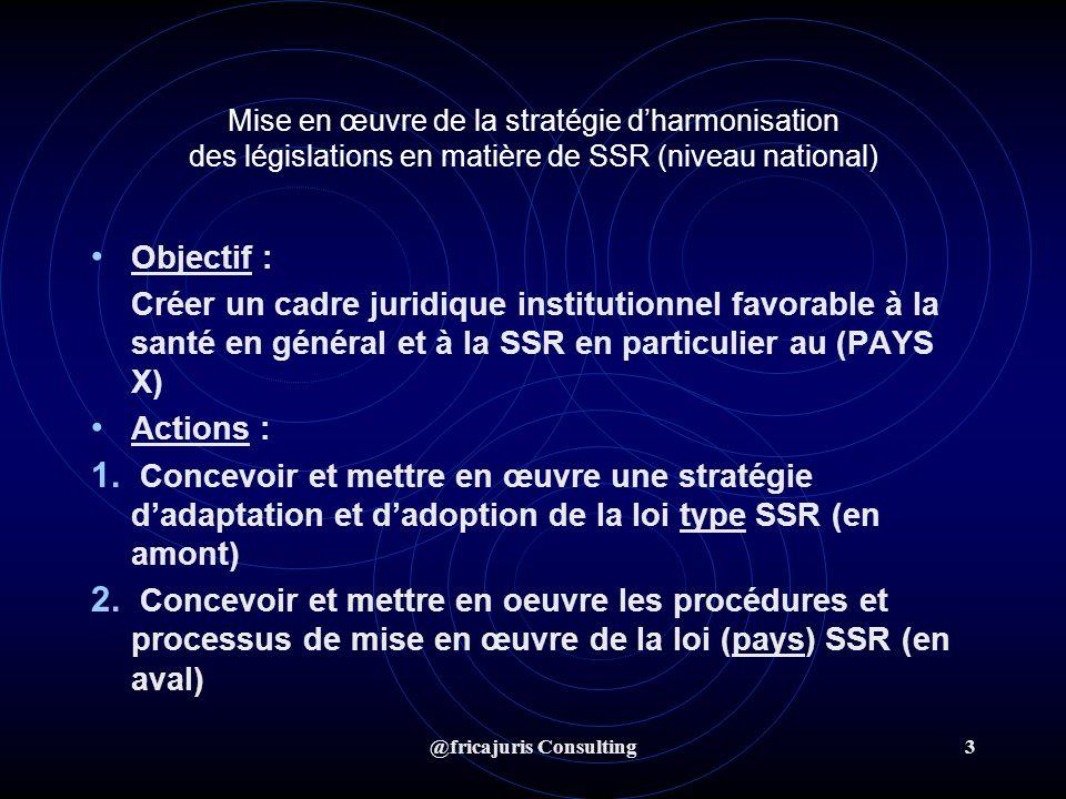 @fricajuris Consulting4 STRATEGIE DADAPATION ET DADOPTION DE LA LOI TYPE Étapes et actions 1.