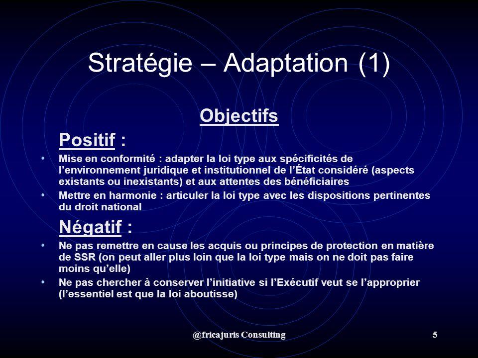 @fricajuris Consulting6 Stratégie – Adaptation (1) Réalisation de la proposition de loi SSR : actions 1.