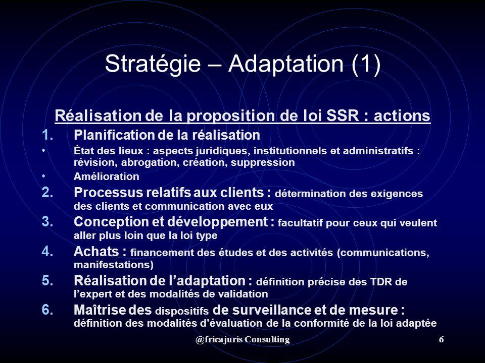@fricajuris Consulting7 Stratégie – Adoption (2) Utilisation de la proposition de loi adaptée Objectif Incorporation effective de la proposition de loi adaptée SSR dans le droit positif national dans un délai optimal