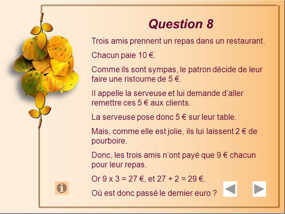 Question 8 Trois amis prennent un repas dans un restaurant.