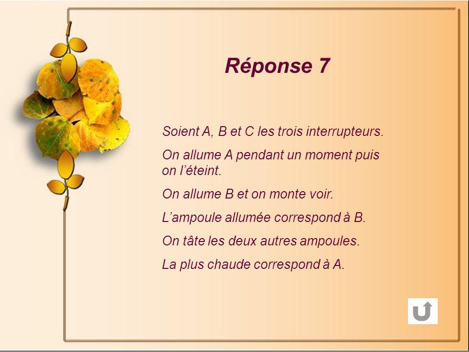 Réponse 7 Soient A, B et C les trois interrupteurs.