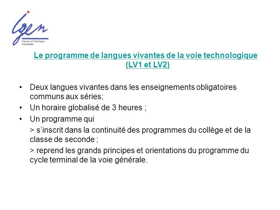 Une référence commune à toutes les langues: le Cadre européen commun de référence pour les langues du Conseil de lEurope (CECRL) Une approche équilibrée des activités langagières en réception et production ; Une approche par compétence ; Des niveaux attendus: B2 pour la LV1 et B1 pour la LV2; Une visée « actionnelle » : communiquer et apprendre passent par la réalisation de tâches.