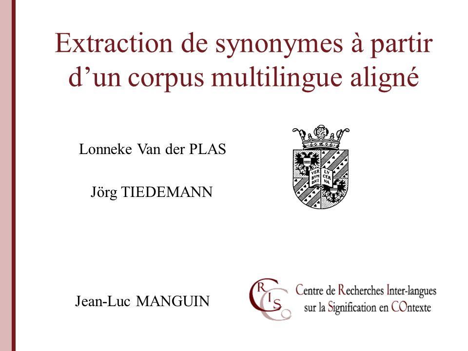 Van der Plas, Tiedemann, Manguin - JLC Lorient 2007 Introduction Traitement automatique dun corpus.