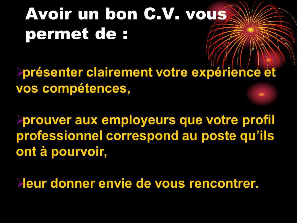 SOMMAIRE Quattendent les employeurs des C.V.quils lisent .
