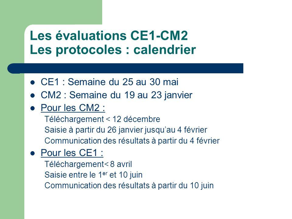 Evaluations CE1-CM2 Le contenu 100 items au total : – 60 en français, – 40 en maths Corrections : 0/1/A sur application locale Passation sur une semaine – CE1 : 3 séquences de français/ 3 maths – CM2 : 3 séquences de français/ 2 maths