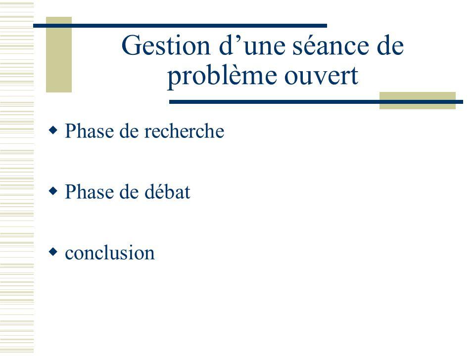 Questions à se poser pour guider le choix dun problème ouvert Les élèves peuvent-ils facilement sapproprier lénoncé.